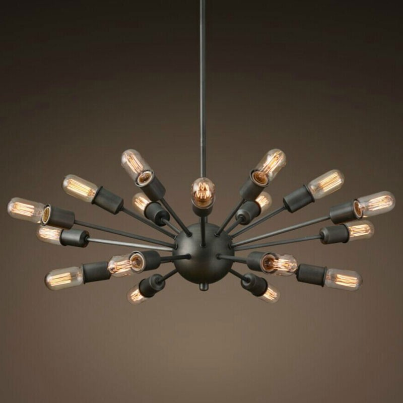 18-Light Iron Built Matte Black Vintage Sputnik Filament Chandelier (DK-5010-D18)