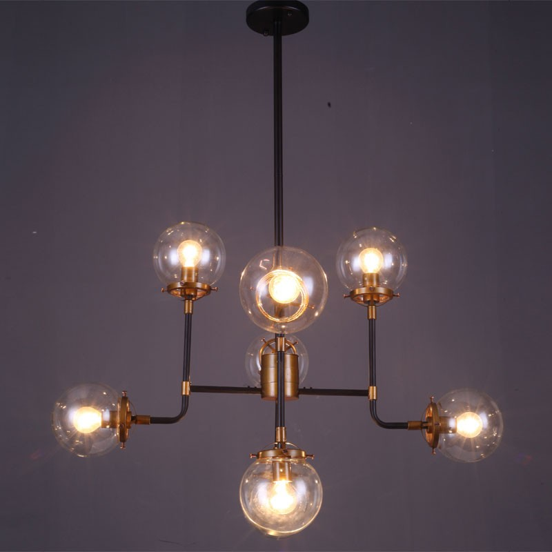 8-Light Iron Built Matte Black Vintage Glass Ball Pendant Light (DK-5046-D8)