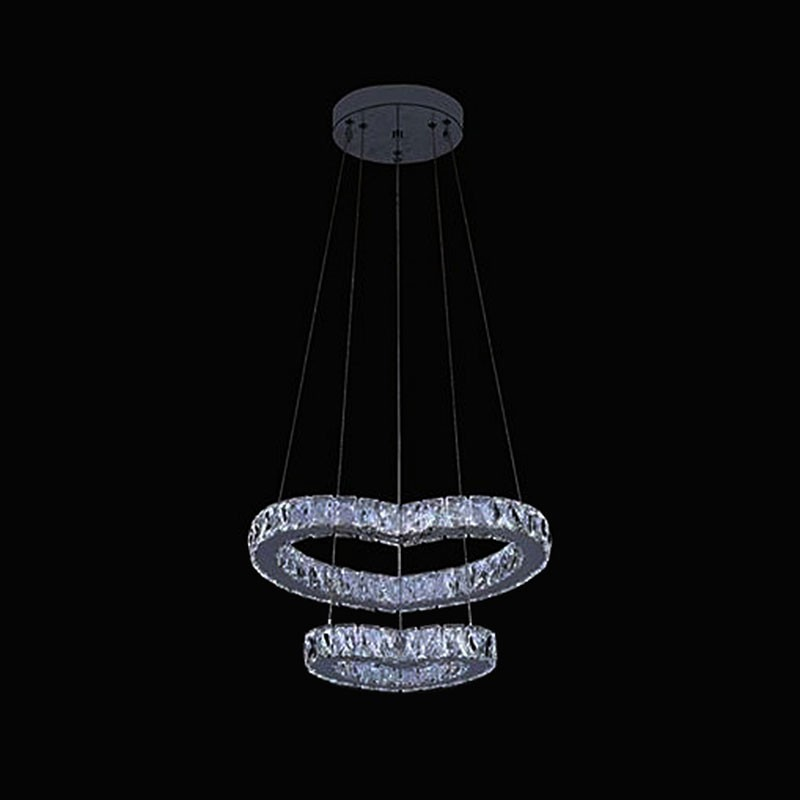 2-Ring Stainless Steel Built Modern LED Crystal Chandelier with Remote Control (DK-LD261)