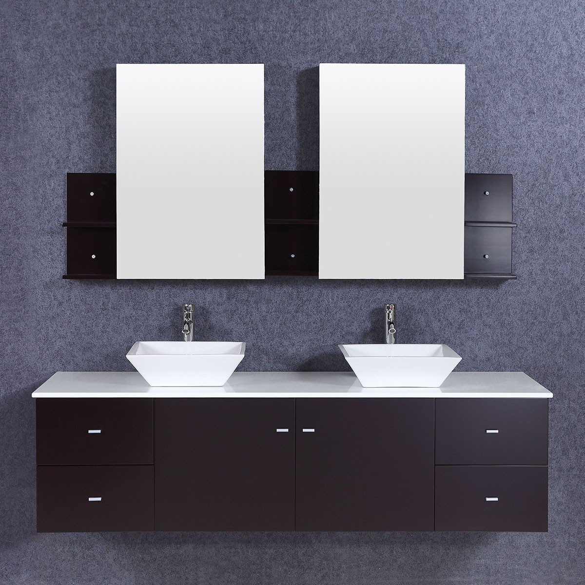 72 In. Bathroom Vanity Set with Double Sinks and Mirrors (DK-T9147)