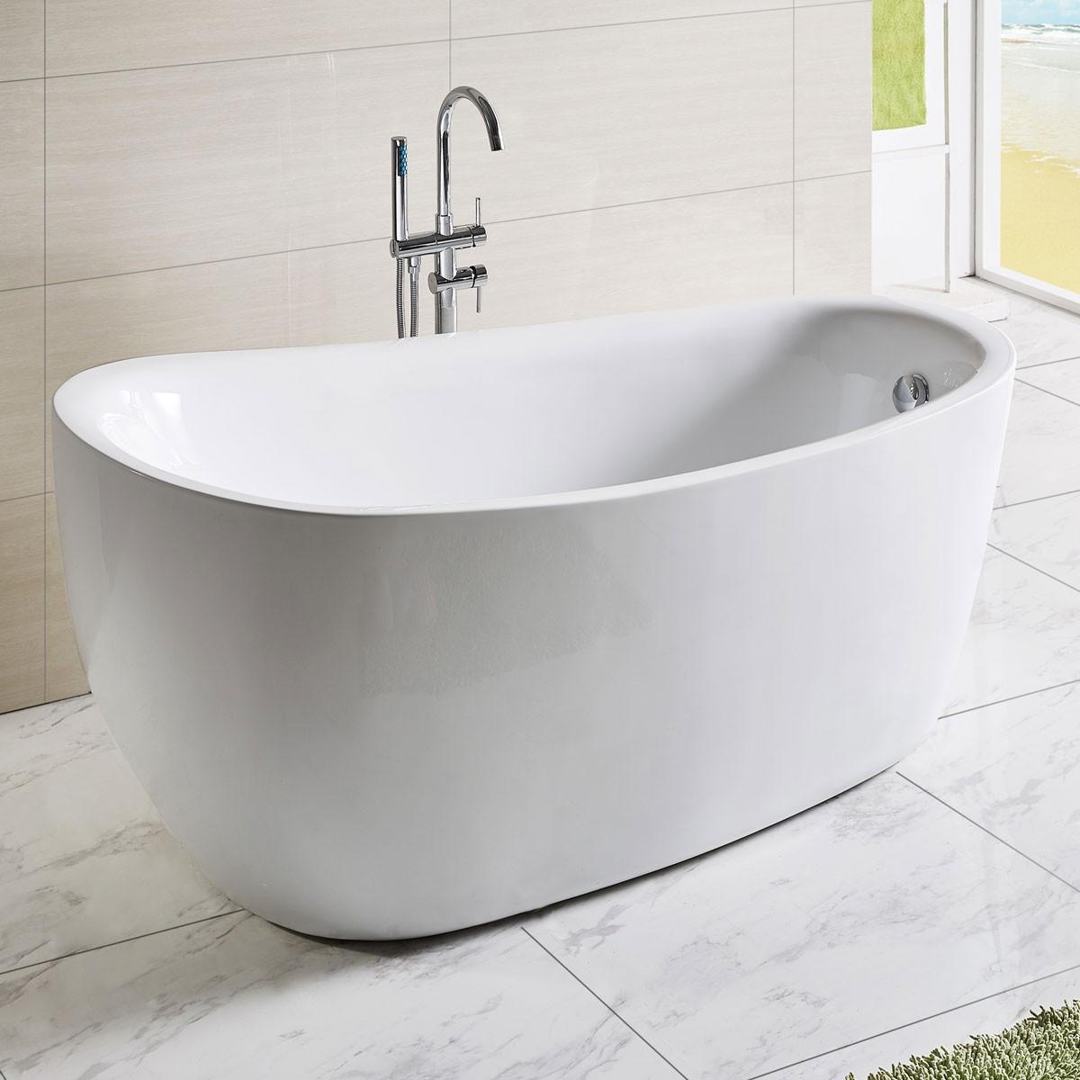 67 In White Acrylic Freestanding Bathtub Dk Q168