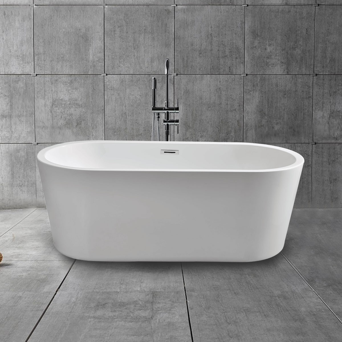 59 In Soaking Bathtub Acrylic White DK MEC3004A Decoraport Canada