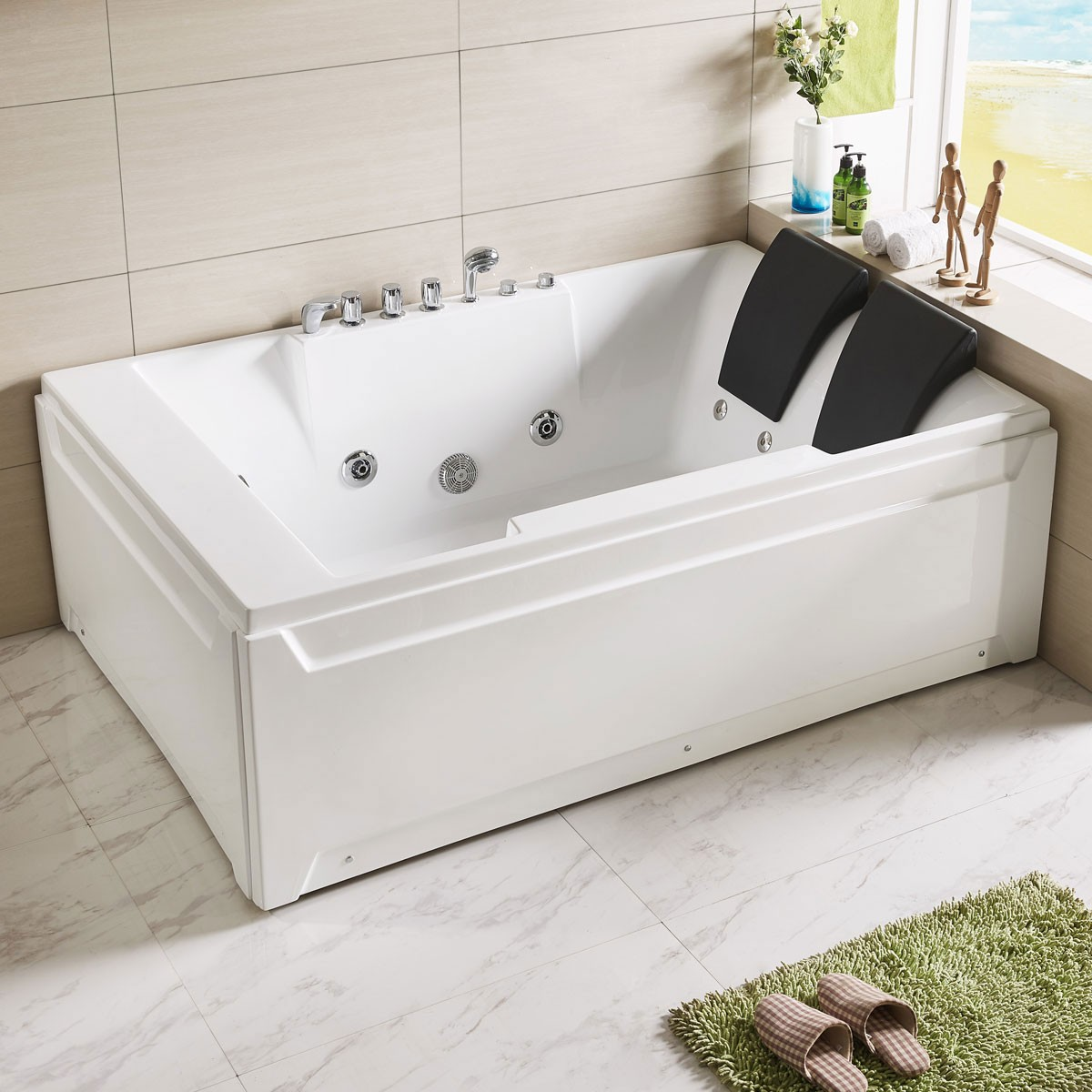 72 x 48 In Whirlpool Tub with Double Pillow (DK-Q367) | Decoraport ...