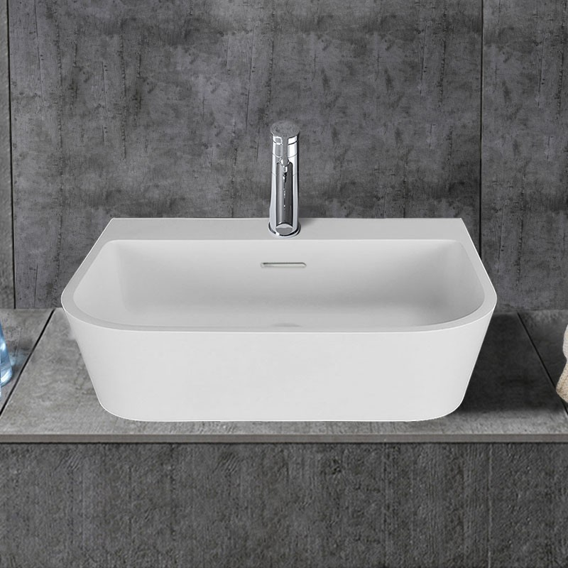 White Rectangular Artificial Stone Above Counter Bathroom Vessel Sink Dk Hb9031 Decoraport