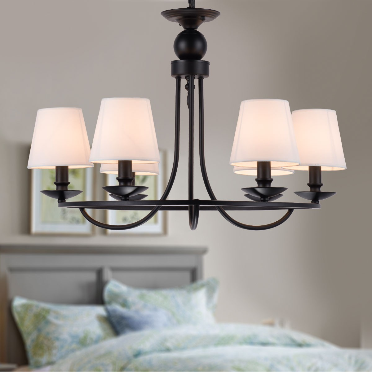 6 Light Black Wrought Iron Chandelier With Cloth Shades