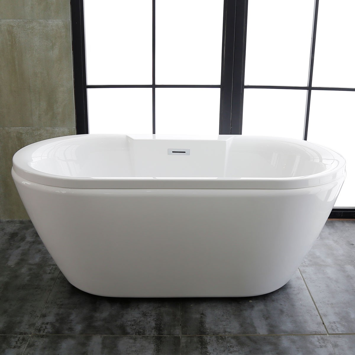 60 In Freestanding Bathtub - Acrylic Pure White (DK-PW-58576)