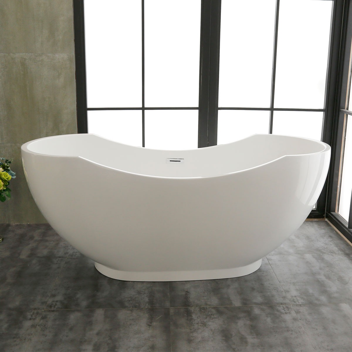 67 In Double Slipper Freestanding Bathtub – Acrylic Pure White (DK-PW-60775)