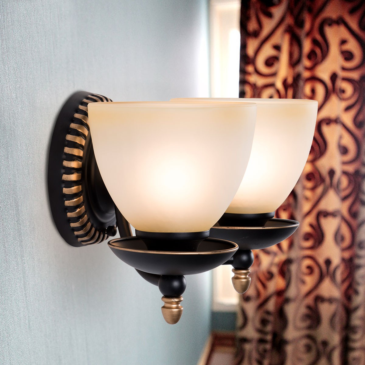2-Light Black Wrought Iron Wall Sconce with Glass Shades (DK-2037-2W)