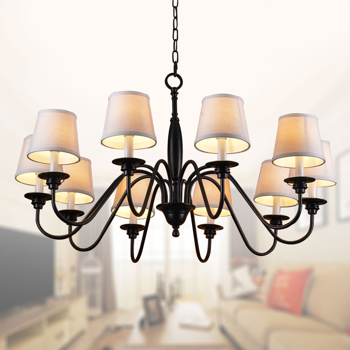 10-Light Black Wrought Iron Chandelier with Cloth Shades (DK-7057-10)