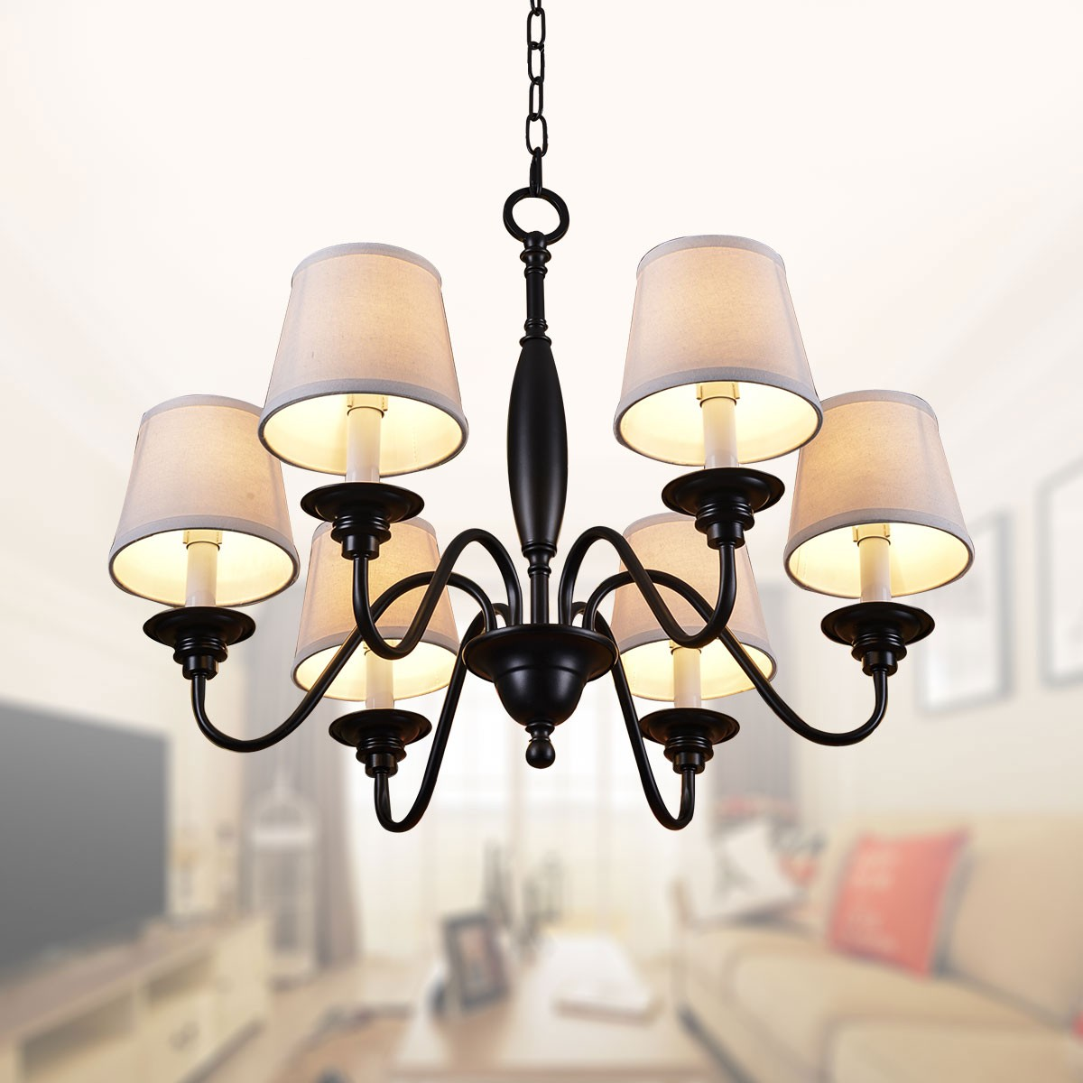 6-Light Black Wrought Iron Chandelier with Cloth Shades ...