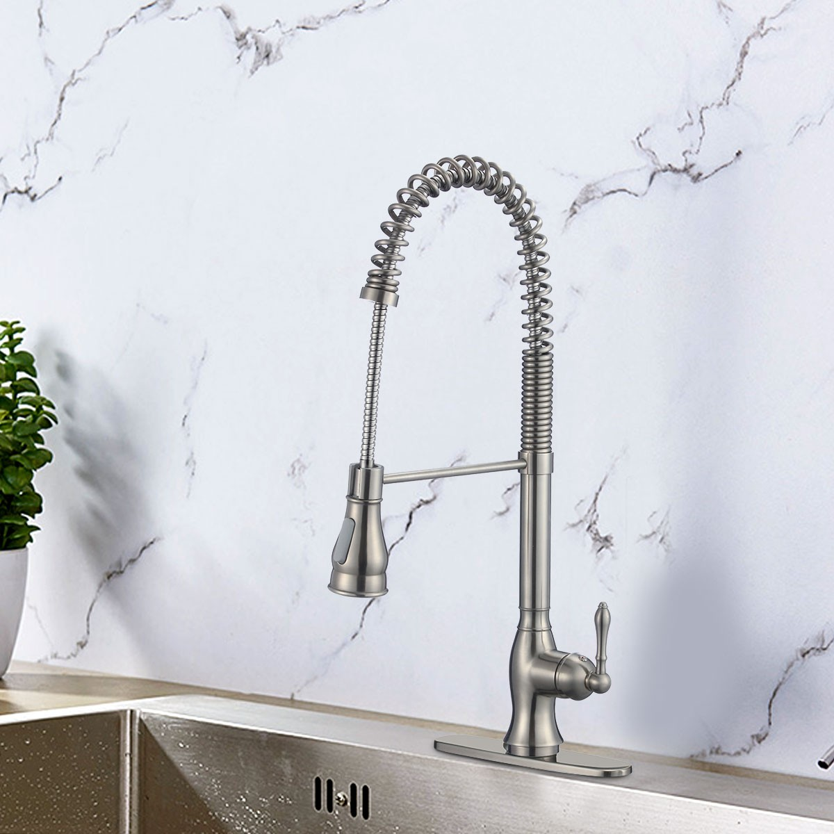 Brushed Nickel Finished Brass Kitchen Faucet - Pull Out Spray Head (82H39-BN)
