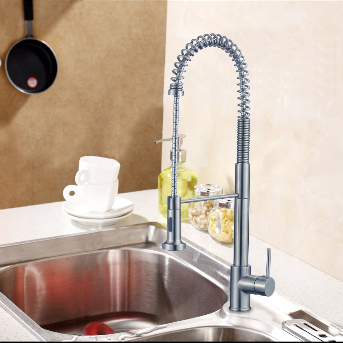 Brushed Nickel Finished Brass Kitchen Faucet Pull Out