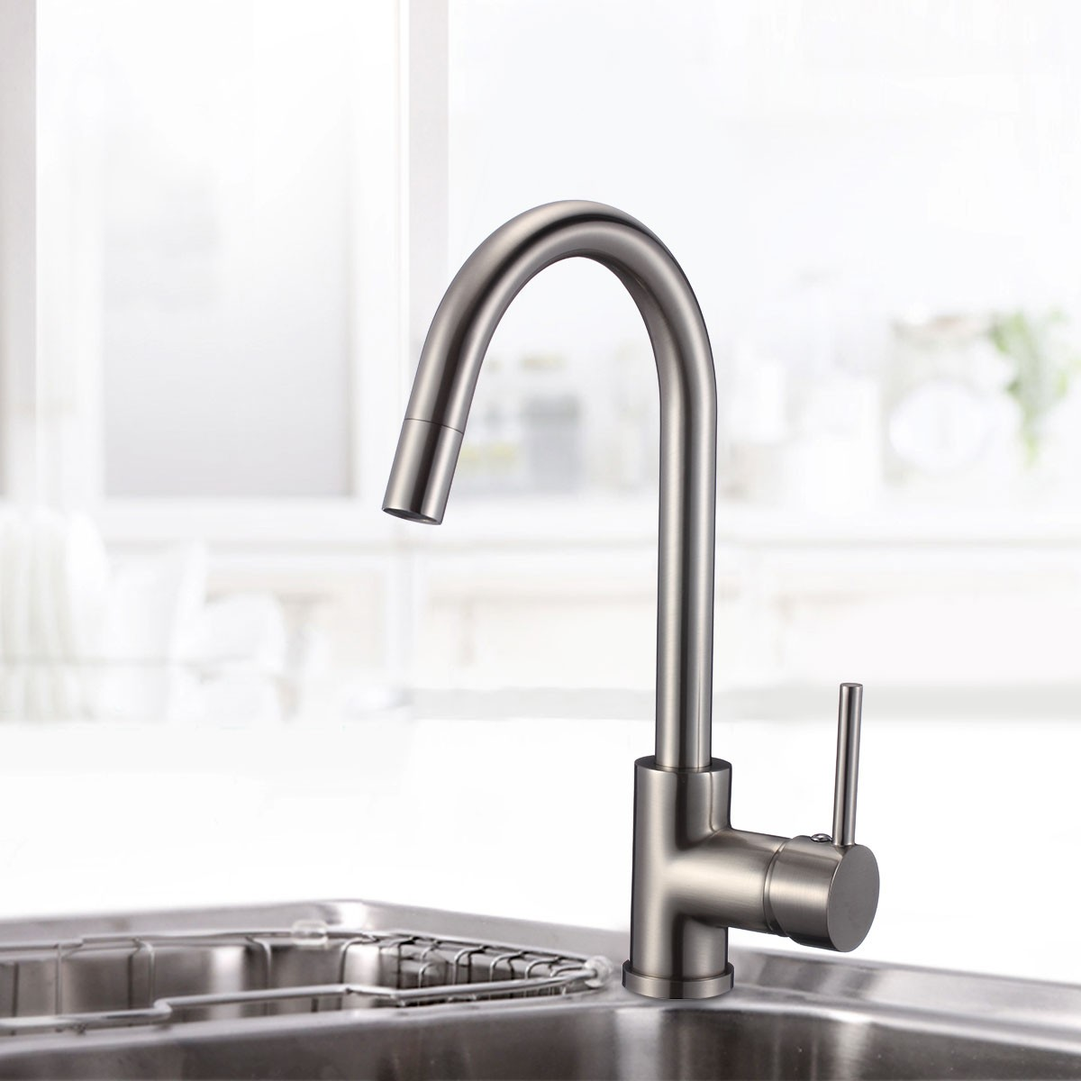 Brushed Nickel Finished Brass Kitchen Faucet (82H37-BN)