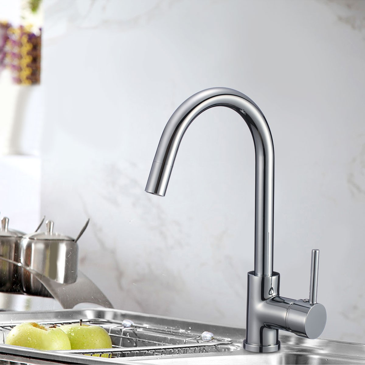 Chrome finished brass kitchen faucet 82h37 chr