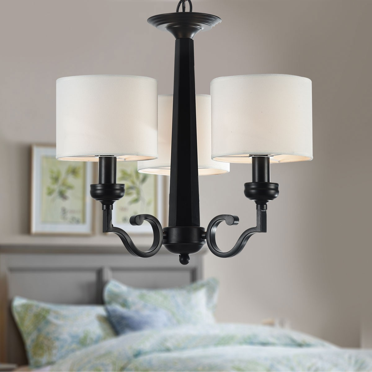 3-Light Black Wrought Iron Chandelier with Cloth Shades (DK-2017-3)