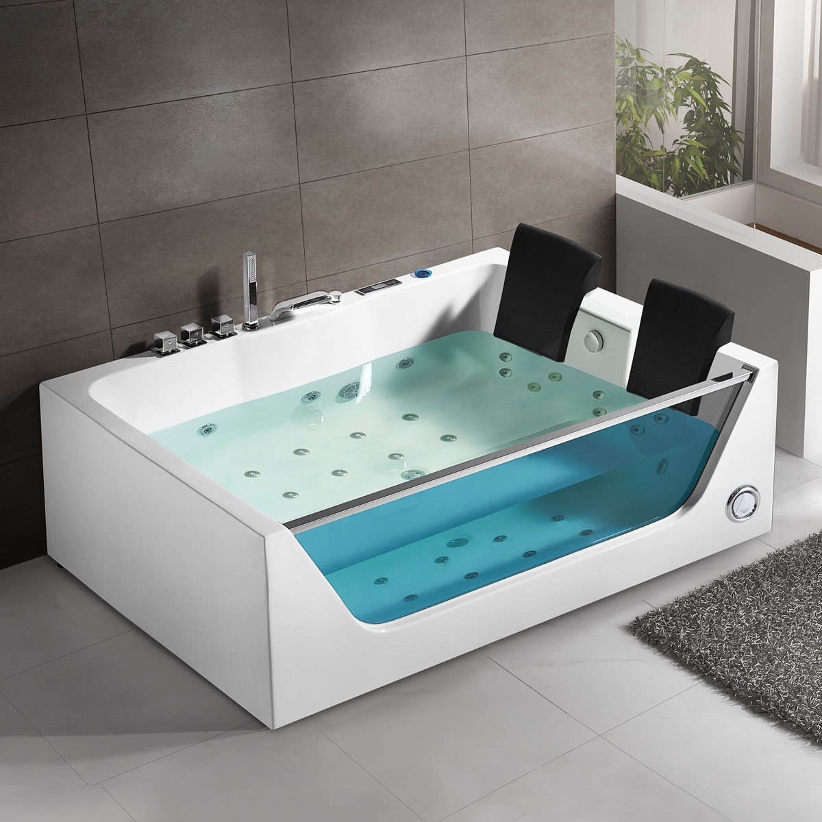 71 In Whirlpool Tub - Acrylic White (DK-Q411) | Decoraport Canada