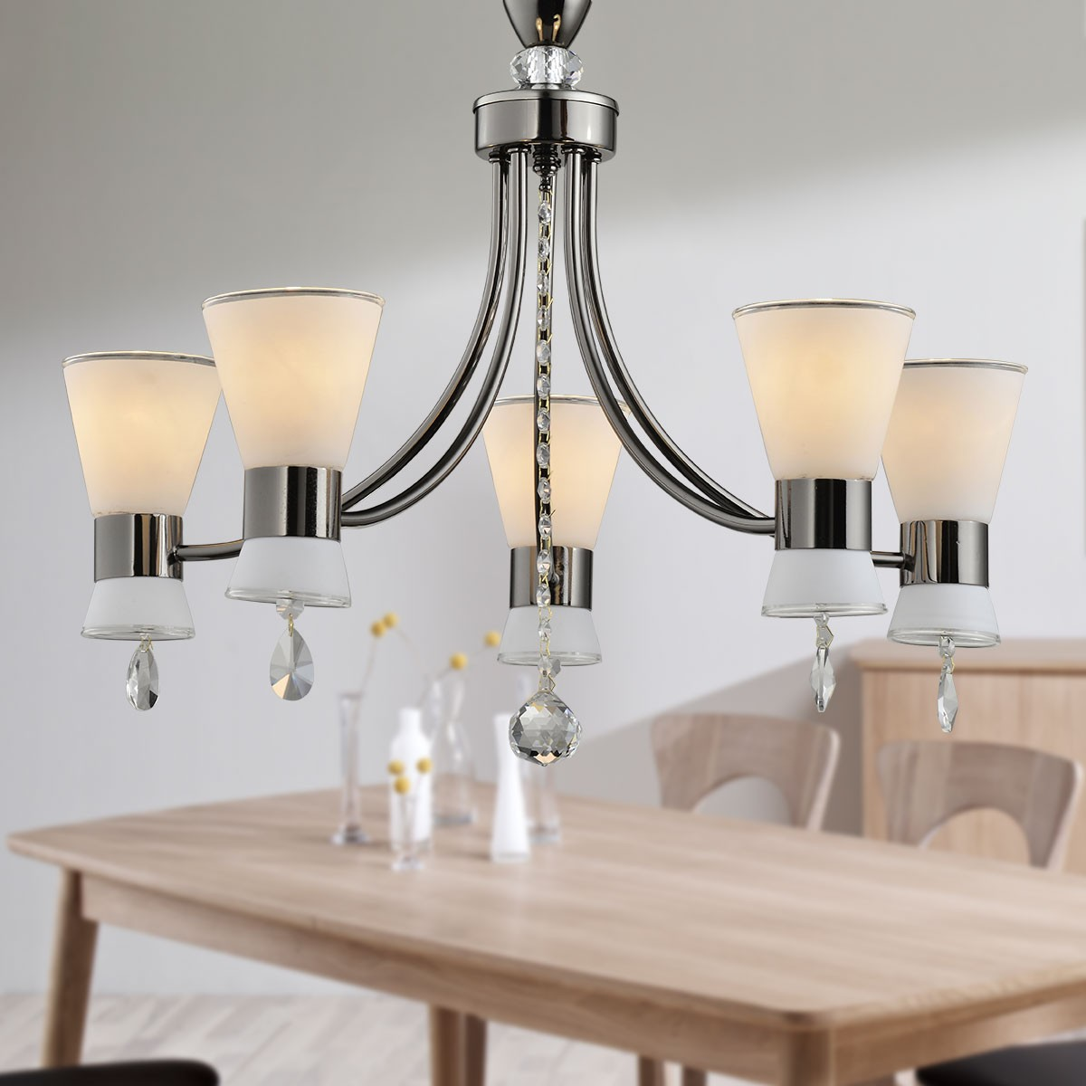 5 Light Black Iron Modern Chandelier With Glass Shades Hkc31333a
