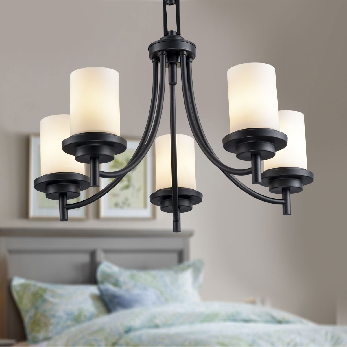 5-Light Black Wrought Iron Chandelier with Glass Shades (DK-8110-5)
