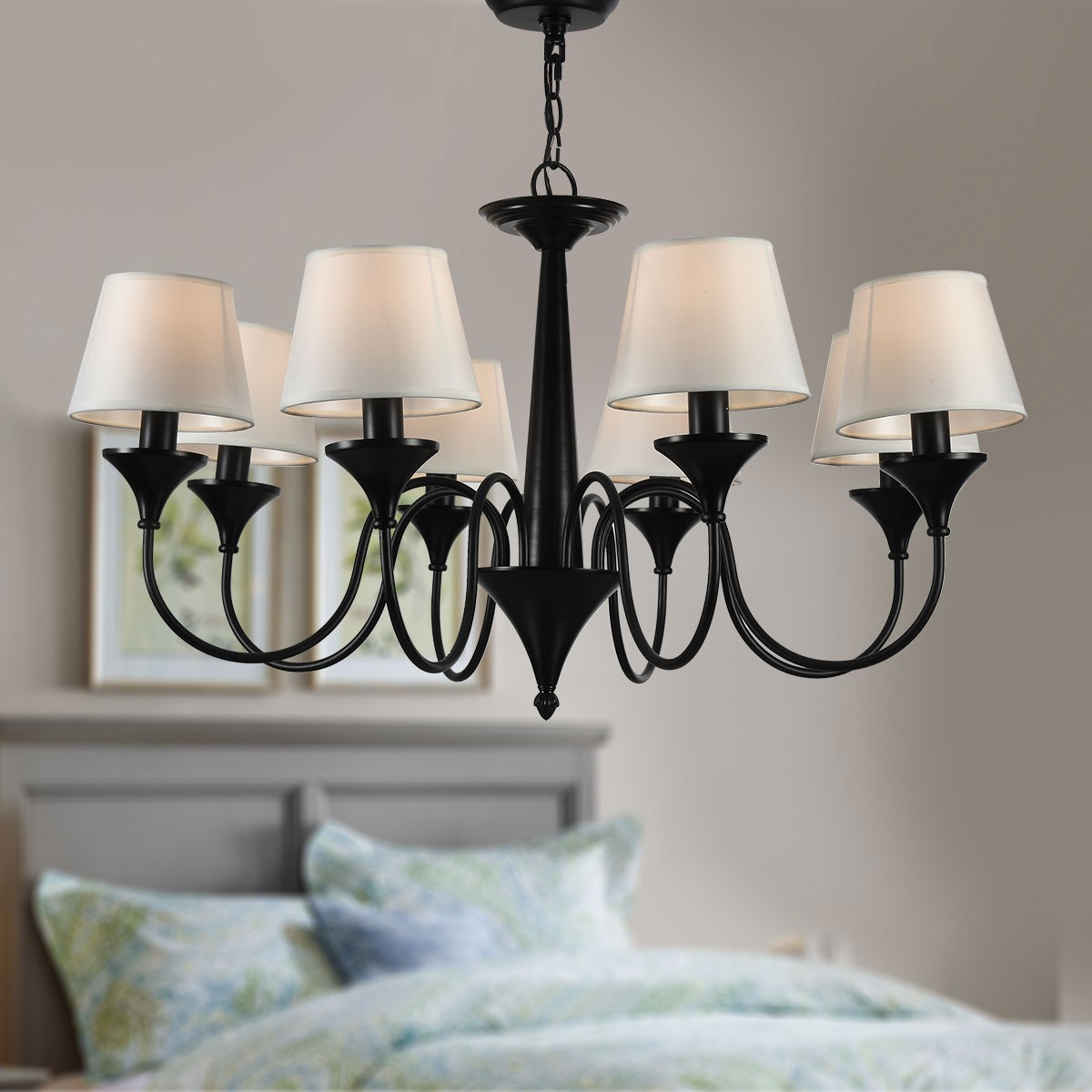 8 Light Black Wrought Iron Chandelier With Cloth Shades