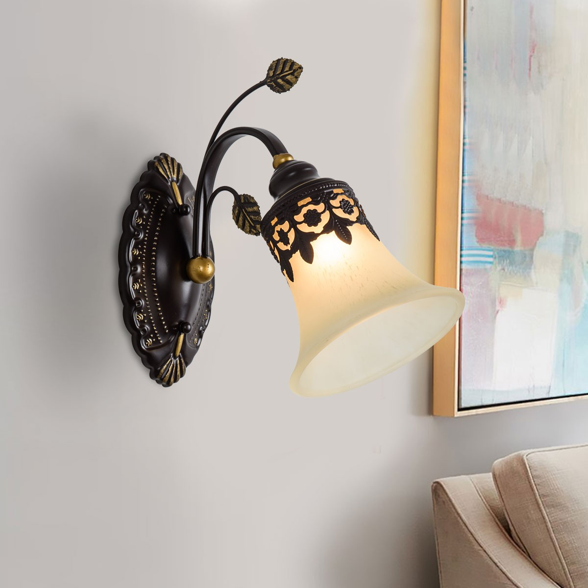 1-Light Black Wrought Iron Wall Sconce with Glass Shades (DK-1029-1W)