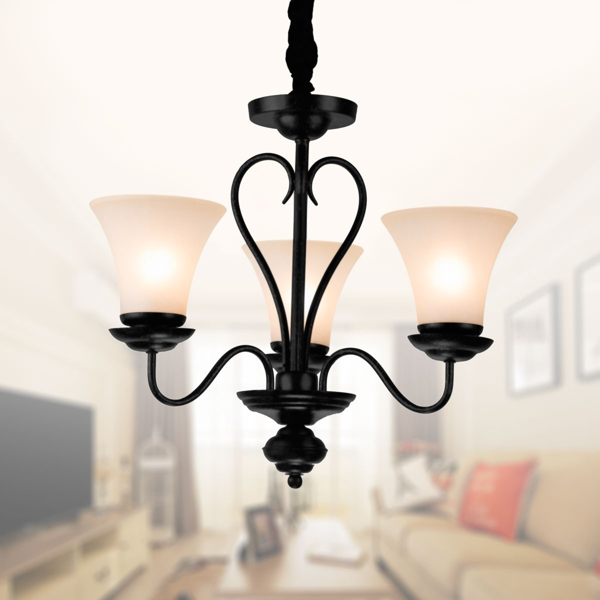 3 Light Black Wrought Iron Chandelier With Glass Shades Dk 2039