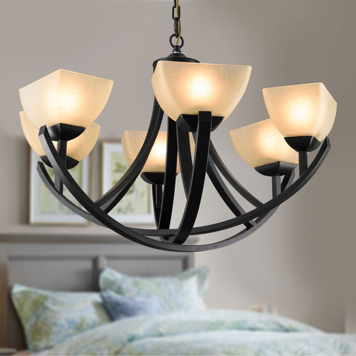 6-Light Black Wrought Iron Chandelier with Glass Shades (DK-8016-6)