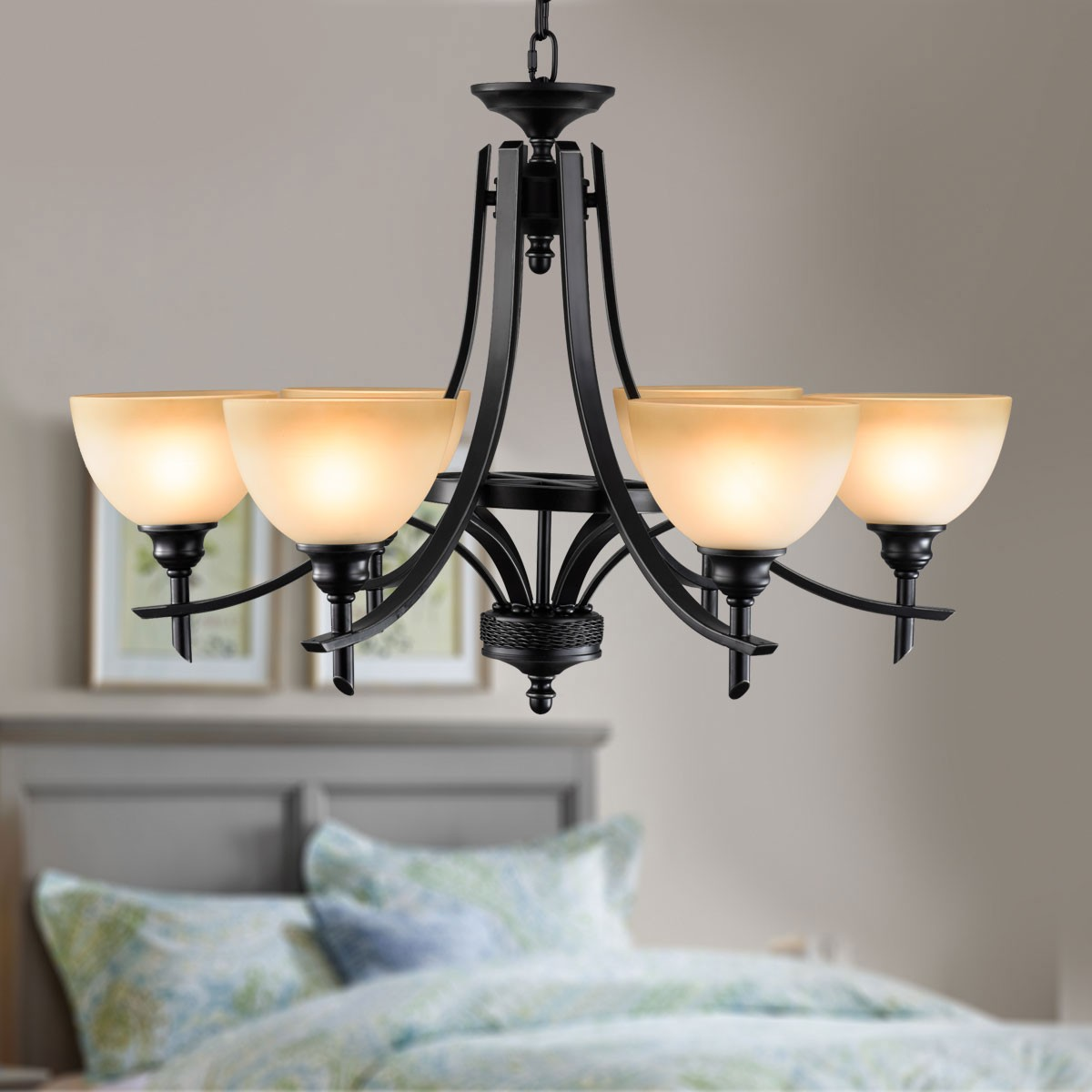 6 light black wrought iron chandelier with glass shades dk 8034 6