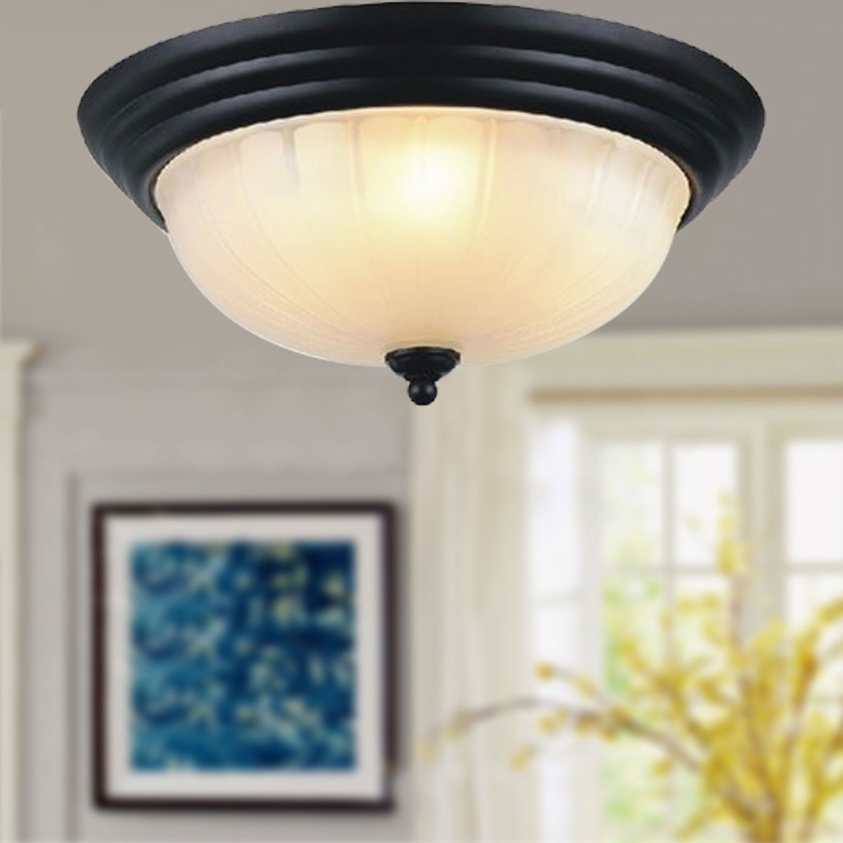 2-Light Iron Built Black Flush-Mount Ceiling Light with Glass Shades (DK-2031-300)