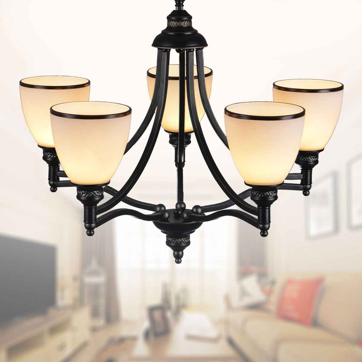 5-Light Black Wrought Iron Chandelier with Glass Shades (DK-5308-5S)