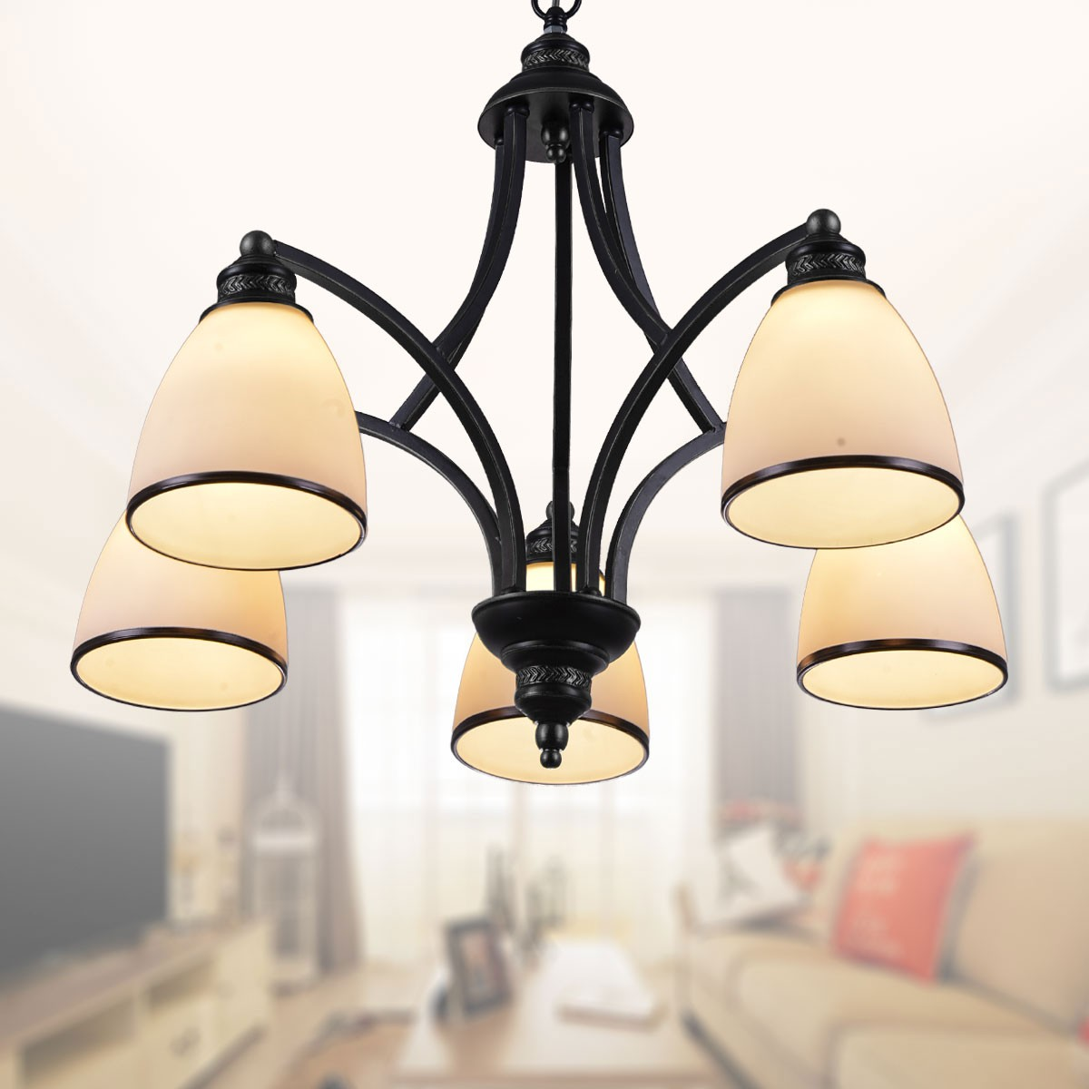 5-Light Black Wrought Iron Chandelier with Glass Shades (DK-5308-5X)