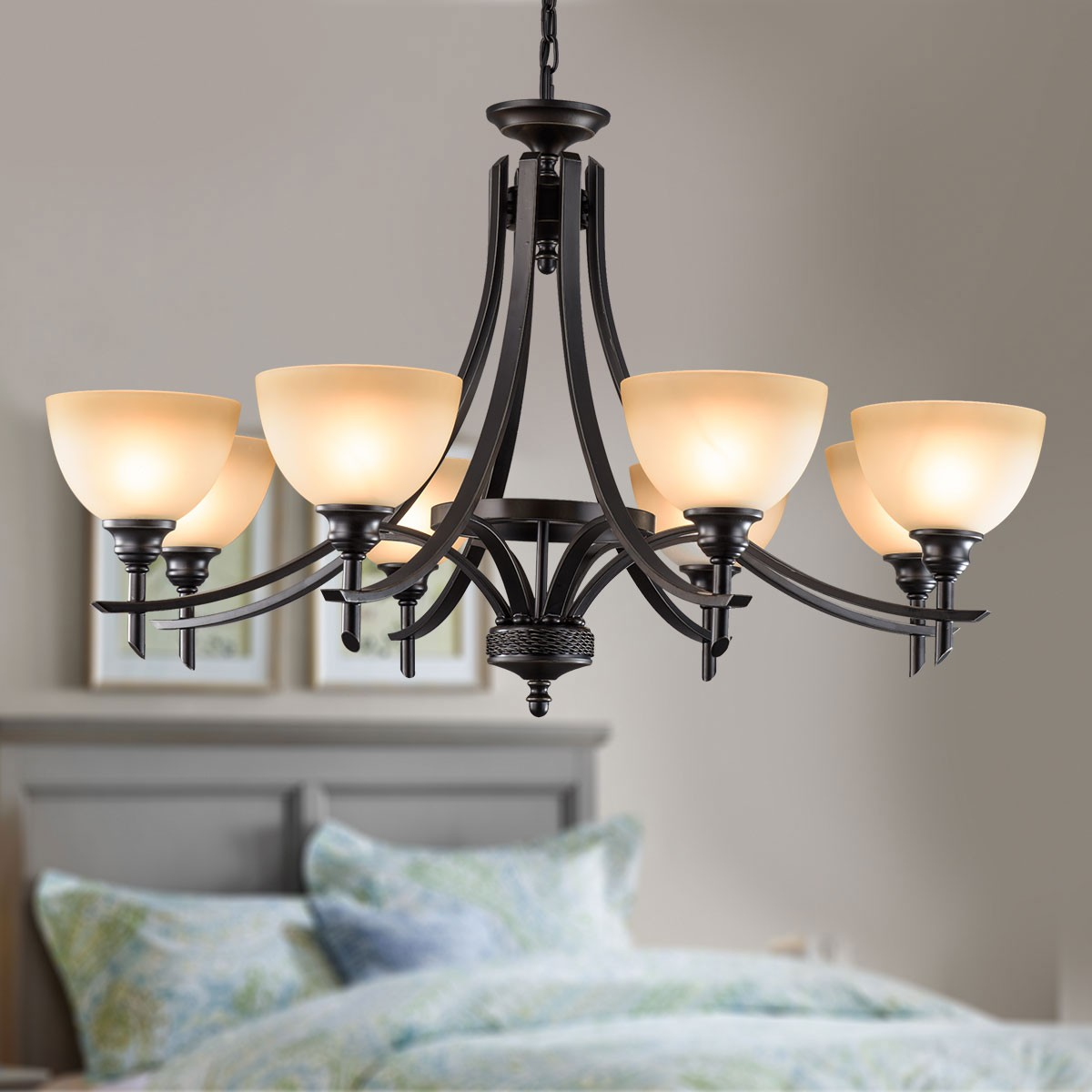 8 Light Black Wrought Iron Chandelier With Glass Shades
