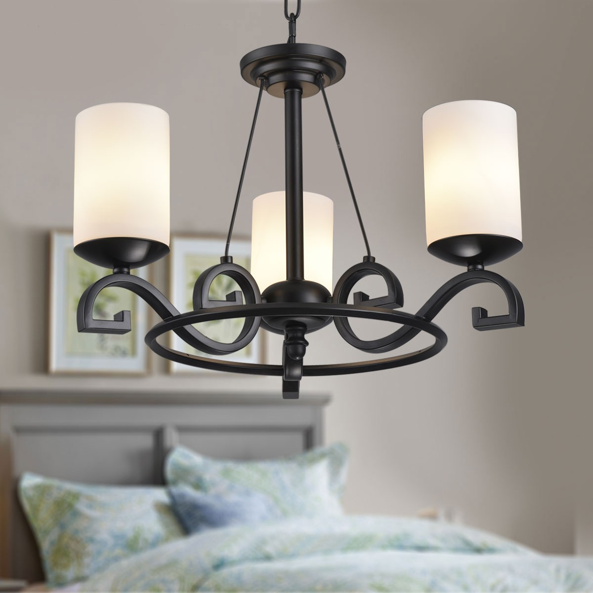 3 Light Black Wrought Iron Chandelier With Glass Shades