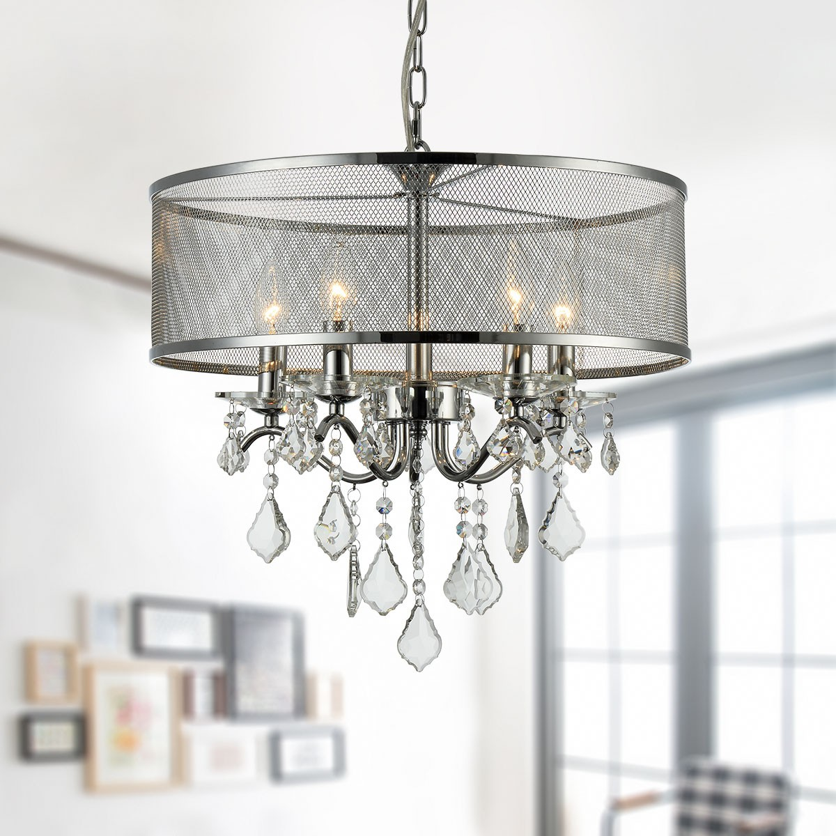 5-Light Modern Crystal Iron Chandelier (DK-RL5634)