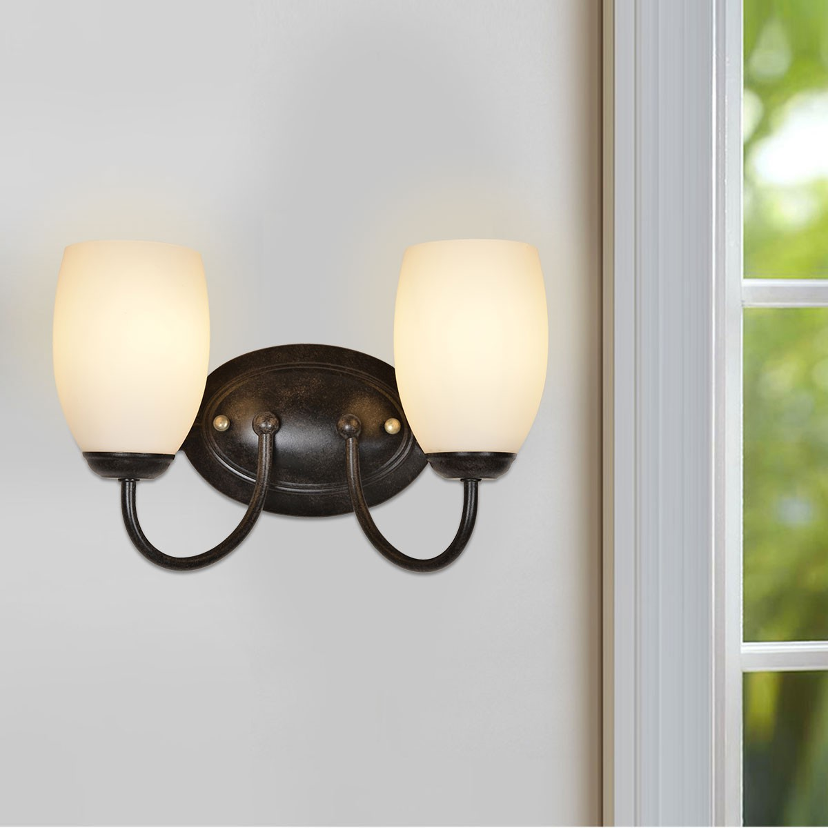 2-Light Black Iron Wall Sconce with Glass Shades (HKW31248-2)