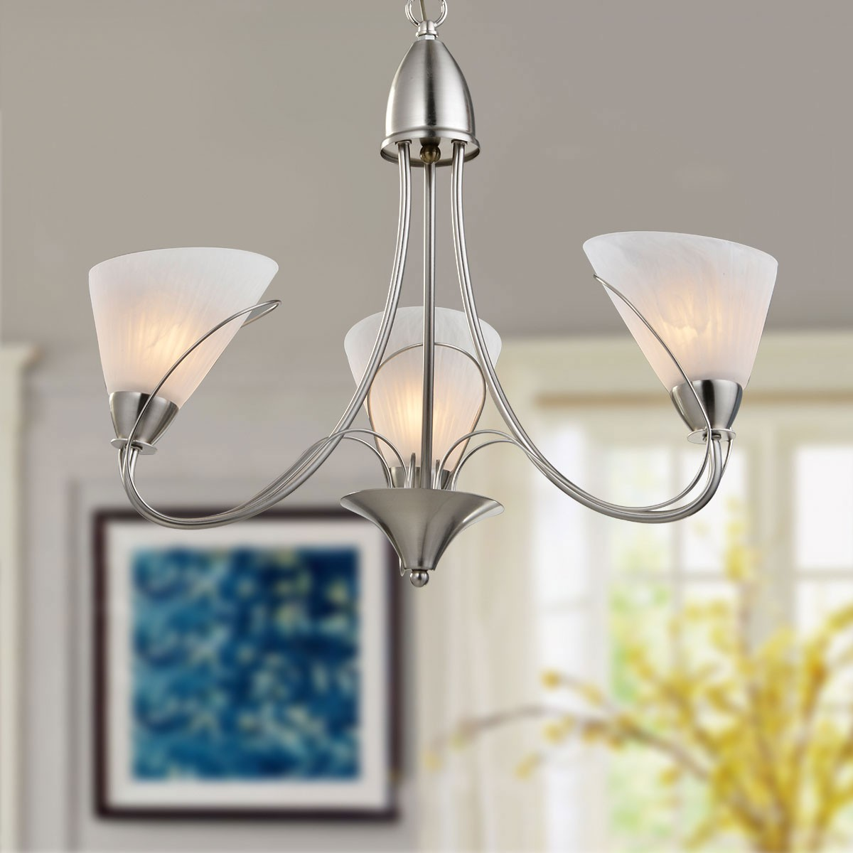 3 Light Silver Iron Modern Chandelier With Glass Shades Hkp31262