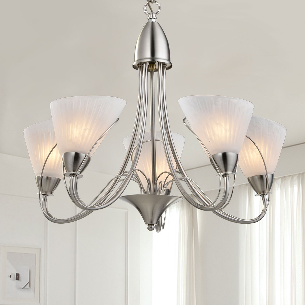 5 Light Silver Iron Modern Chandelier With Glass Shades Hkp31262
