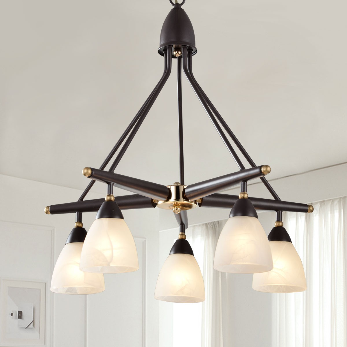 5-Light Brown Iron Modern Chandelier with Glass Shades (HKP31289-5)