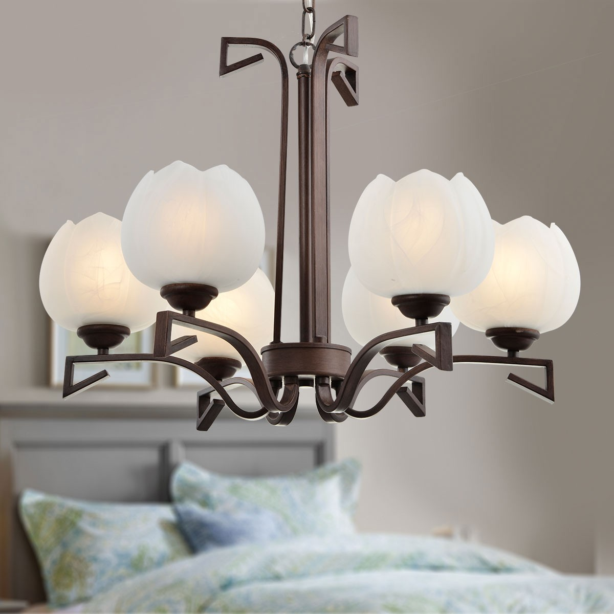 6 Light Bronze Iron Modern Chandelier With Glass Shades Hkp31255