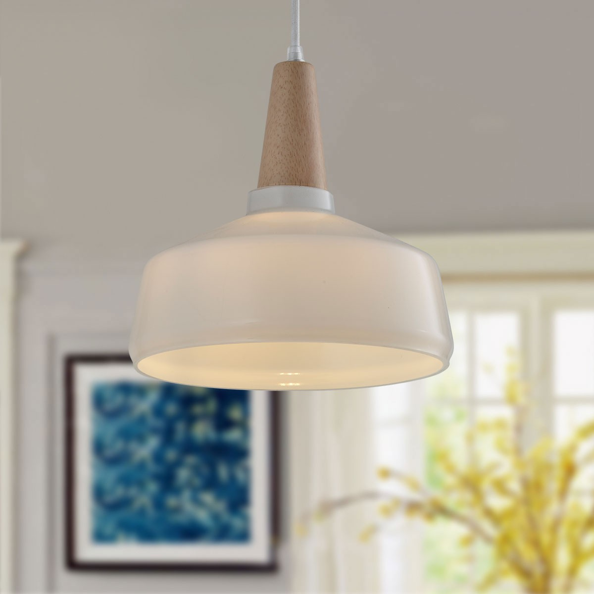 1-Light White Wood/Glass Modern Pendant Light (KP10512-1A)