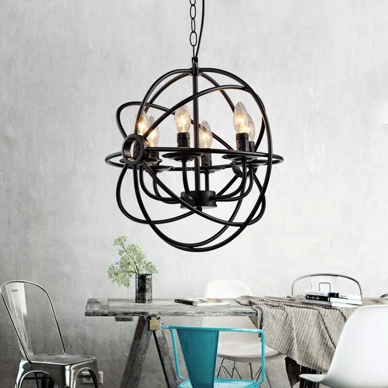 6-Light Metal Globe Chandelier (HKP31334-6)