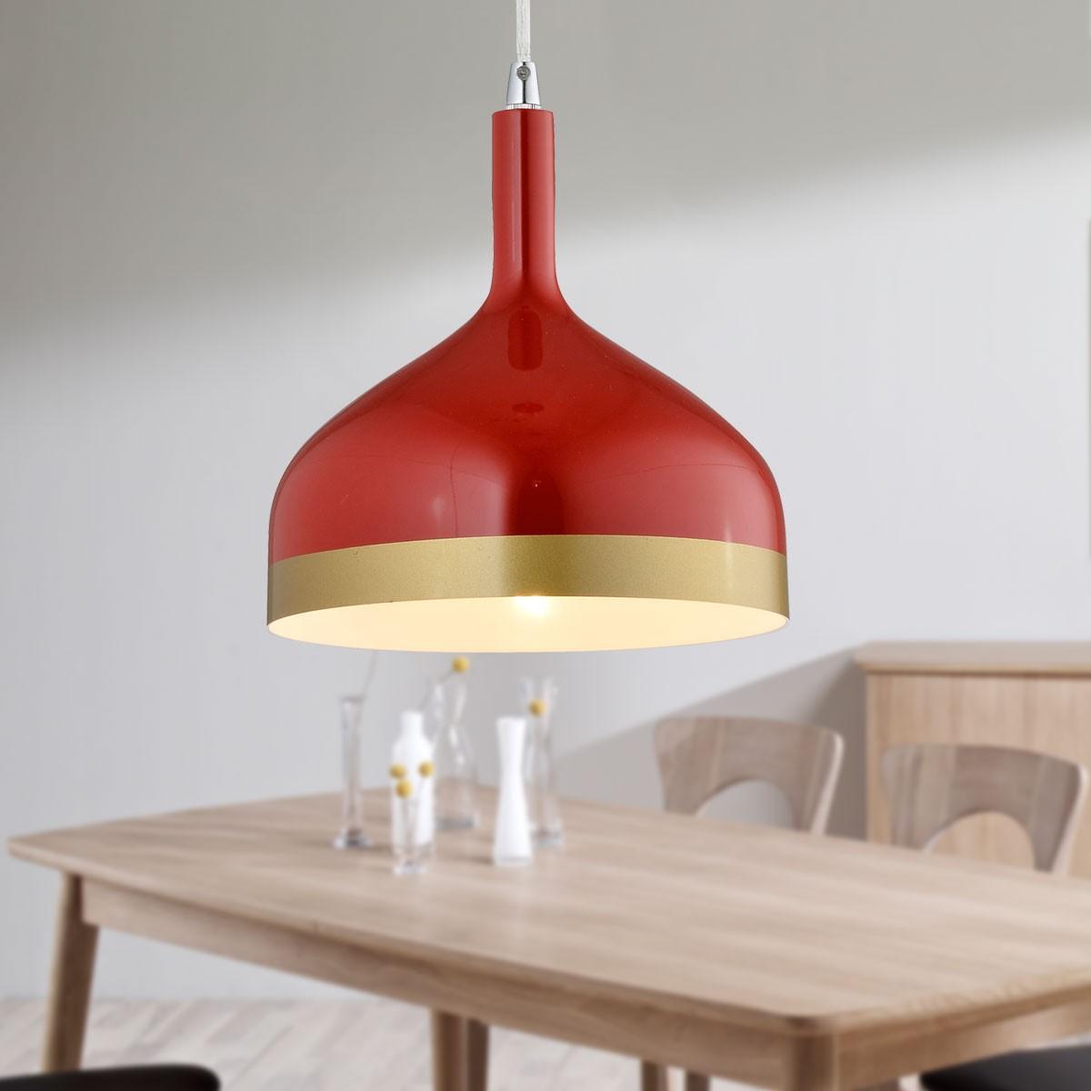 1-Light Red Aluminum Modern Pendant Light (HKP31439-1)