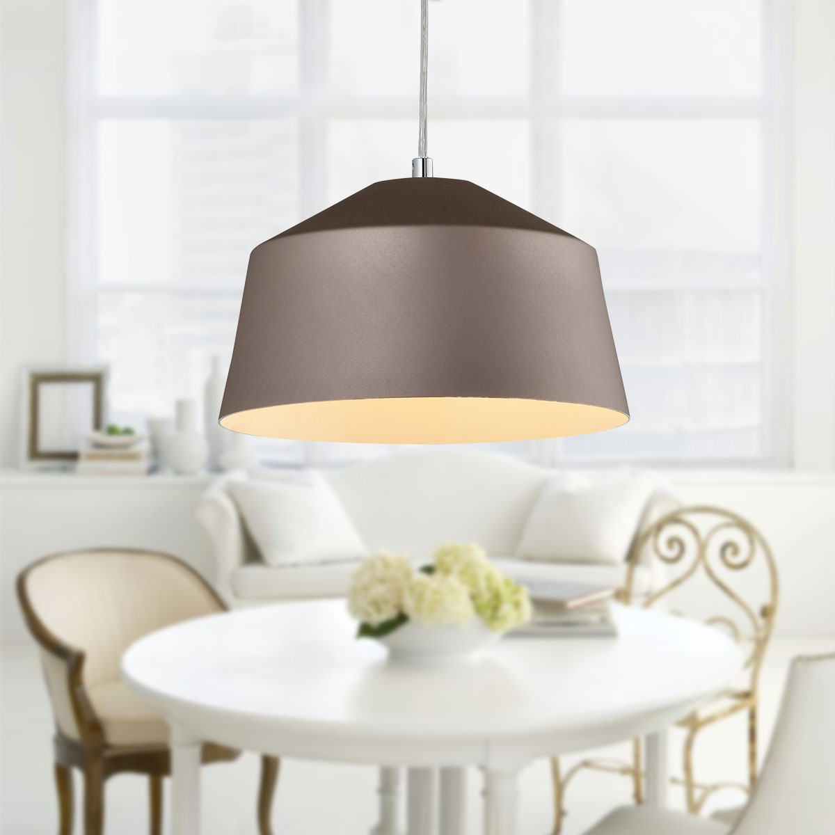 1-Light Gold Aluminum Modern Pendant Light (HKP31437-1)