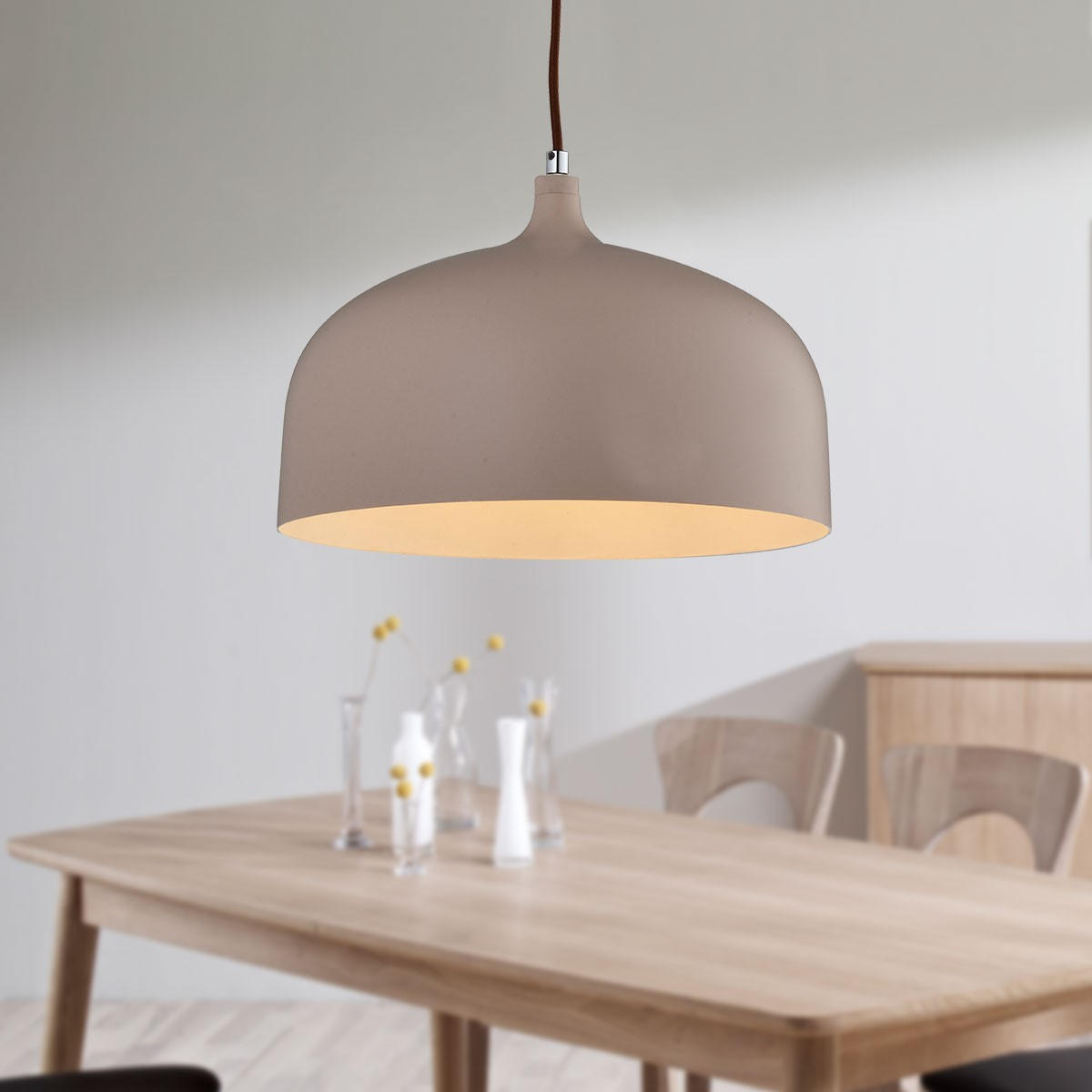 1-Light Brown Aluminum Modern Pendant Light (HKP31435-1)