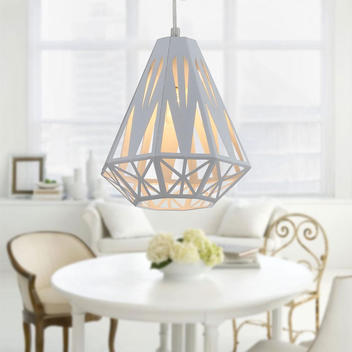 1-Light White Iron Modern Pendant Light (HKP31428-1)