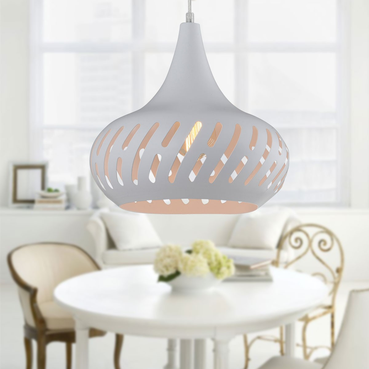 1-Light White Iron Modern Pendant Light (HKP31451-1)