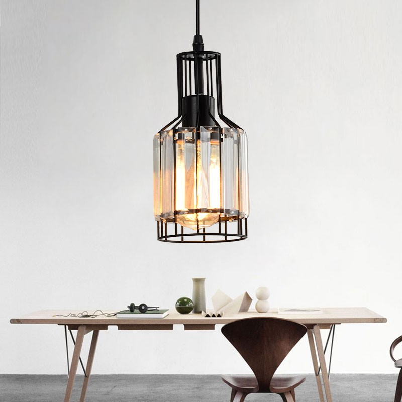 1-Light Iron/Crystal Cage Pendant Light (HKP31468-1)