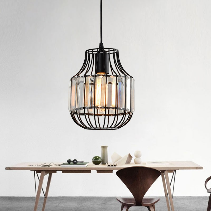 1-Light Iron/Crystal Cage Pendant Light (HKP31477-1)