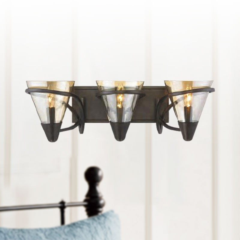 3-Light Iron Wall Sconce with Glass Shade (HKC704-3)
