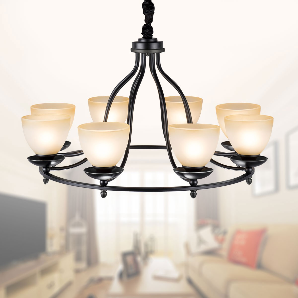 6 Light Black Wrought Iron Chandelier With Glass Shades Dk 2037