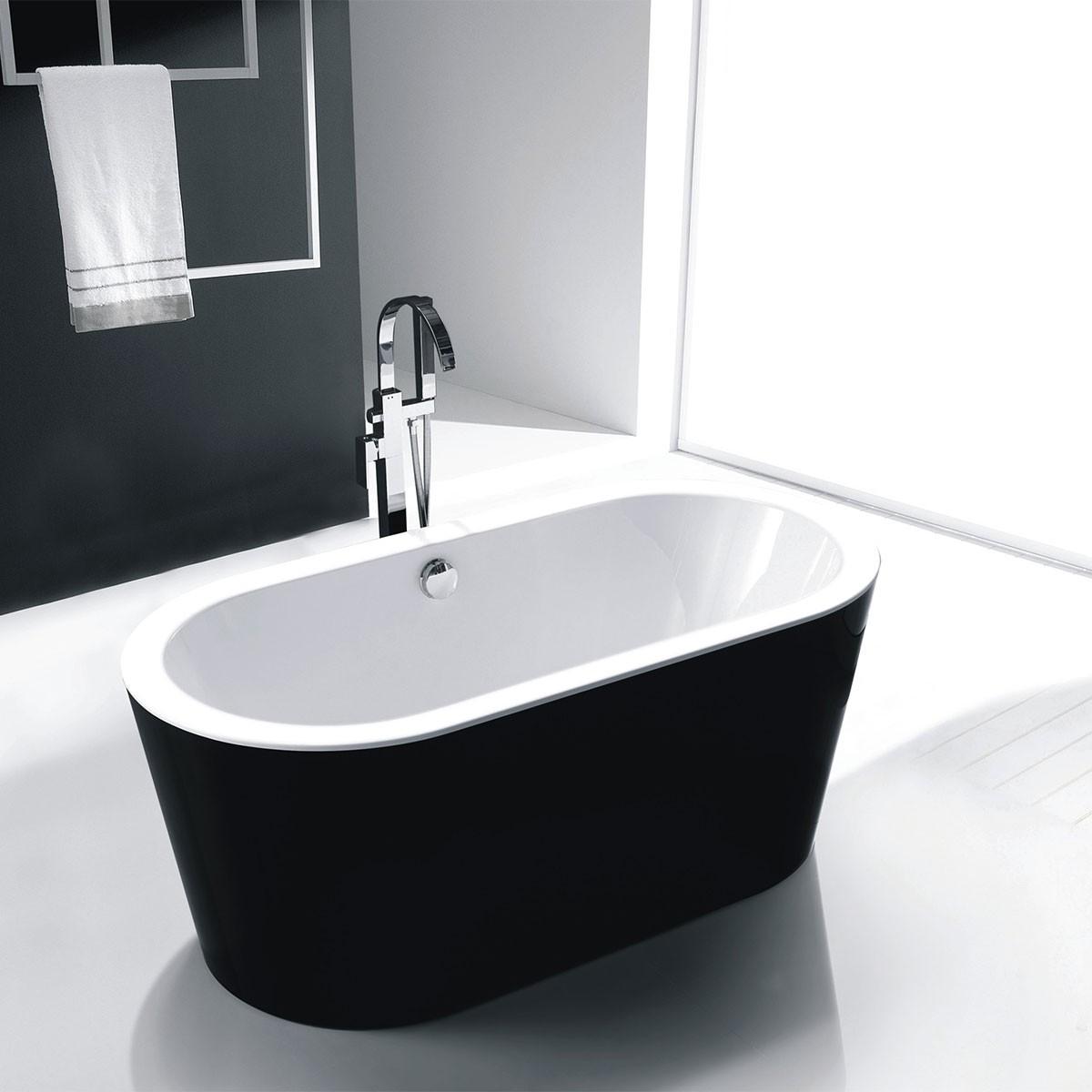 59 In Black Acrylic Freestanding Bathtub (DK-SLDYG858)